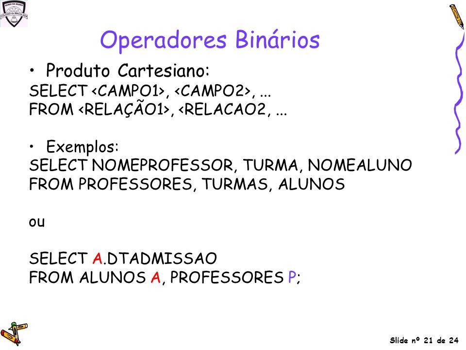 Operadores Binários Produto Cartesiano: