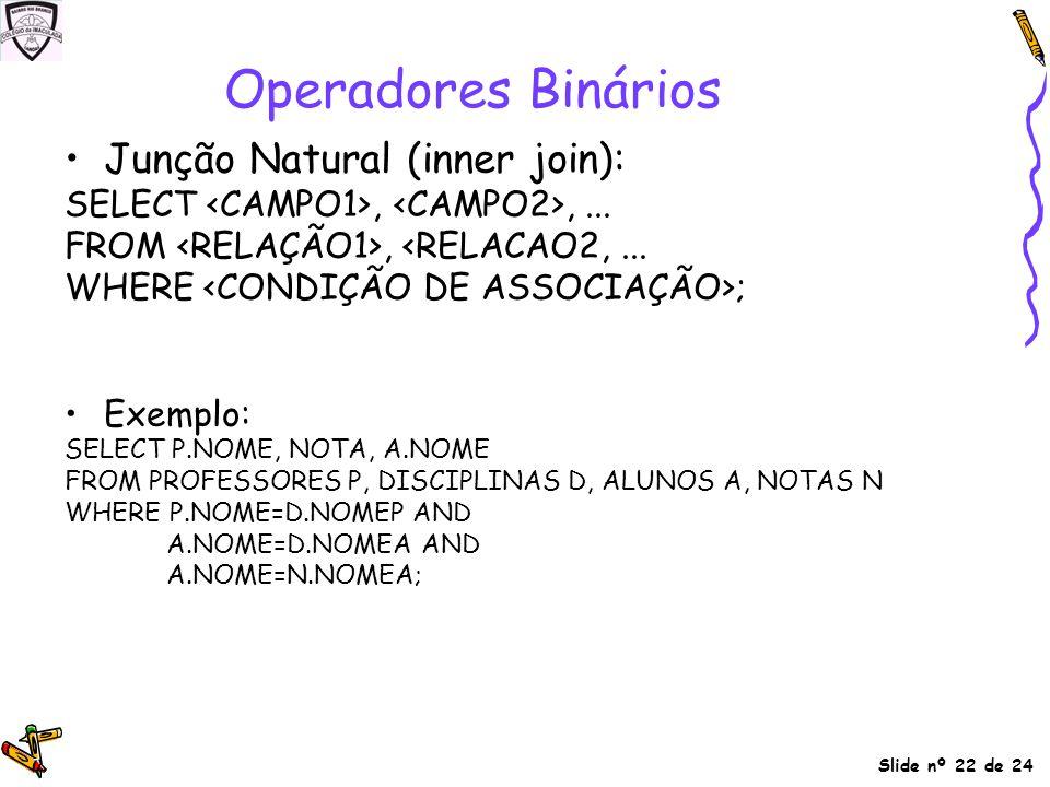Operadores Binários Junção Natural (inner join):