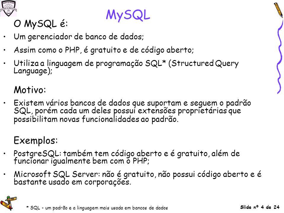 MySQL O MySQL é: Motivo: Exemplos: Um gerenciador de banco de dados;
