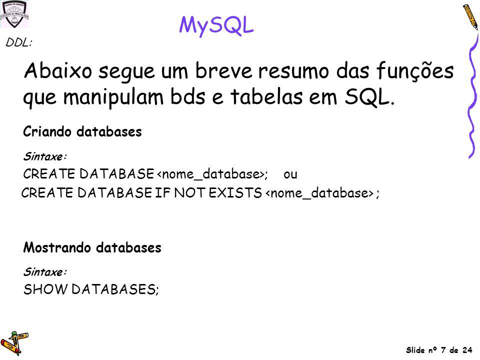 MySQL DDL: Abaixo segue um breve resumo das funções que manipulam bds e tabelas em SQL. Criando databases.