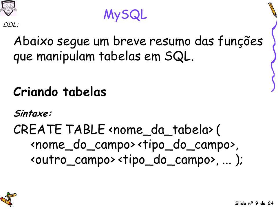 Abaixo segue um breve resumo das funções que manipulam tabelas em SQL.