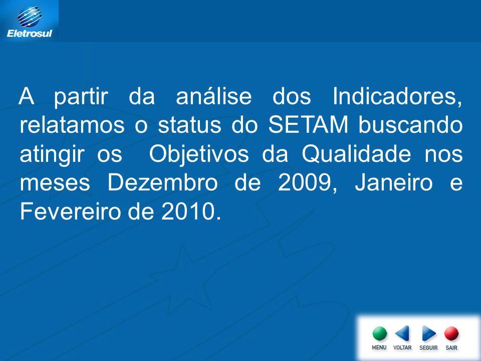 A partir da análise dos Indicadores, relatamos o status do SETAM buscando atingir os Objetivos da Qualidade nos meses Dezembro de 2009, Janeiro e Fevereiro de 2010.