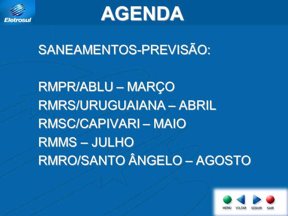 AGENDA SANEAMENTOS-PREVISÃO: RMPR/ABLU – MARÇO RMRS/URUGUAIANA – ABRIL