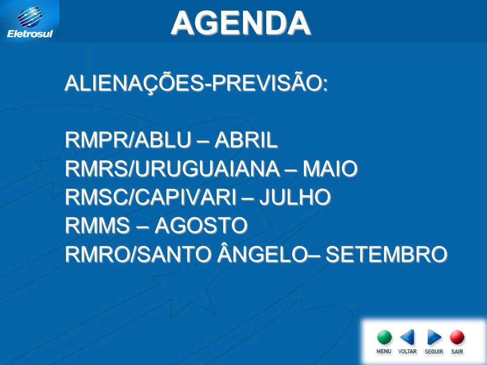 AGENDA ALIENAÇÕES-PREVISÃO: RMPR/ABLU – ABRIL RMRS/URUGUAIANA – MAIO