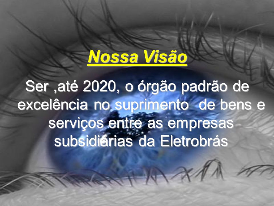 Nossa Visão Ser ,até 2020, o órgão padrão de excelência no suprimento de bens e serviços entre as empresas subsidiárias da Eletrobrás.