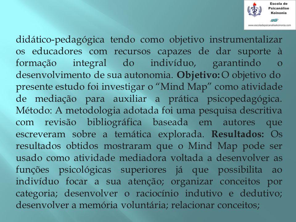 didático-pedagógica tendo como objetivo instrumentalizar os educadores com recursos capazes de dar suporte à formação integral do indivíduo, garantindo o desenvolvimento de sua autonomia. Objetivo: O objetivo do