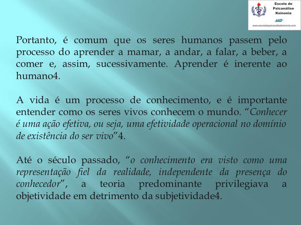 Portanto, é comum que os seres humanos passem pelo processo do aprender a mamar, a andar, a falar, a beber, a comer e, assim, sucessivamente. Aprender é inerente ao humano4.