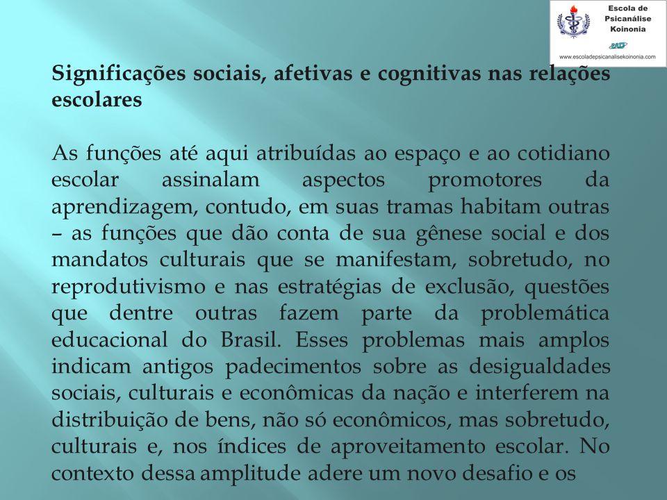 Significações sociais, afetivas e cognitivas nas relações escolares