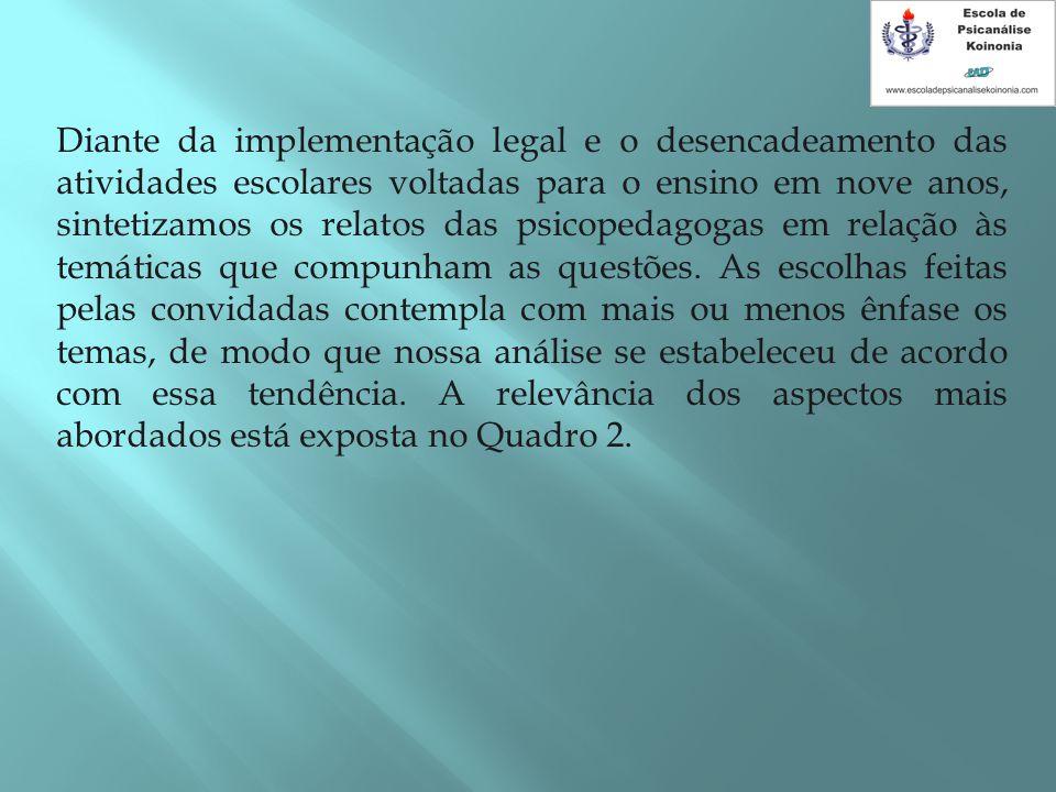 Diante da implementação legal e o desencadeamento das atividades escolares voltadas para o ensino em nove anos, sintetizamos os relatos das psicopedagogas em relação às temáticas que compunham as questões.