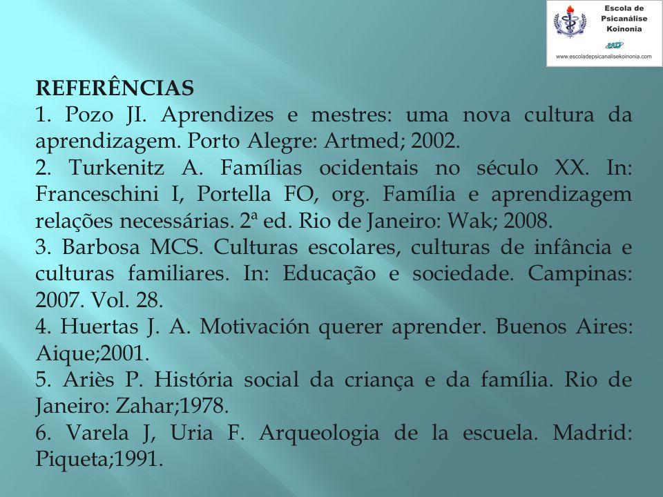 REFERÊNCIAS 1. Pozo JI. Aprendizes e mestres: uma nova cultura da aprendizagem. Porto Alegre: Artmed; 2002.