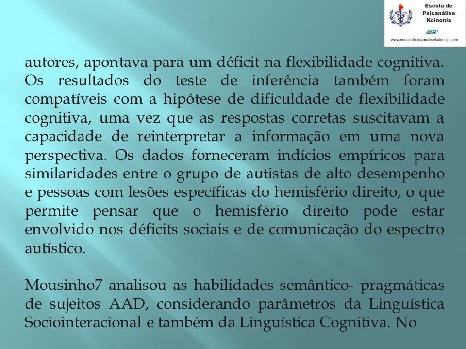 autores, apontava para um déficit na flexibilidade cognitiva