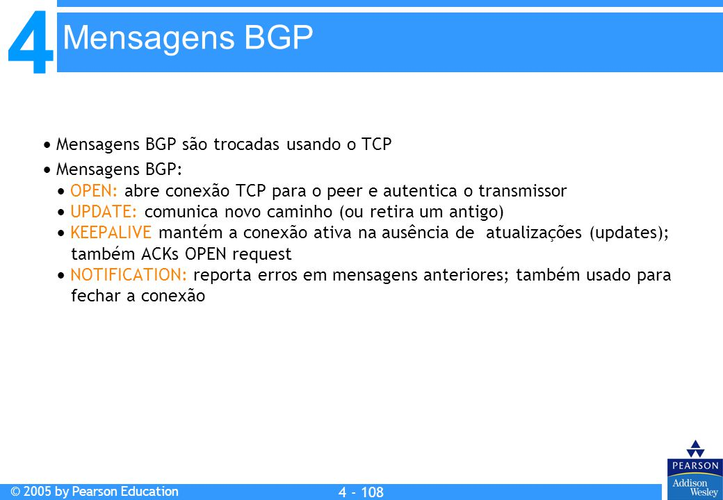 Mensagens BGP  Mensagens BGP são trocadas usando o TCP