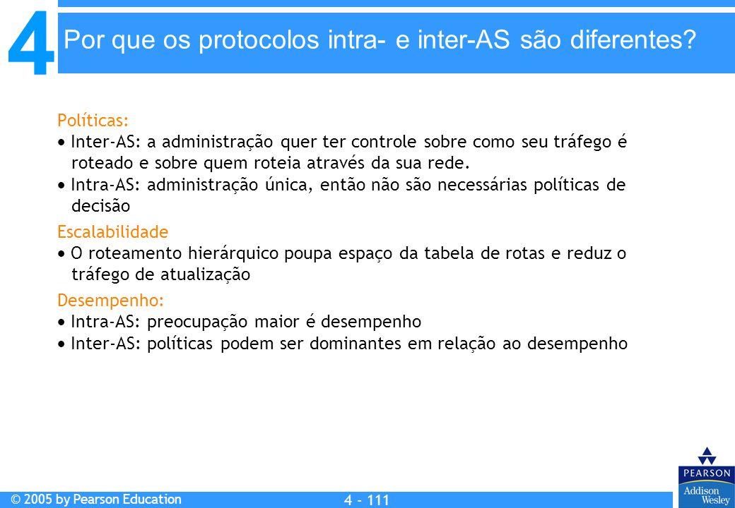 Por que os protocolos intra- e inter-AS são diferentes
