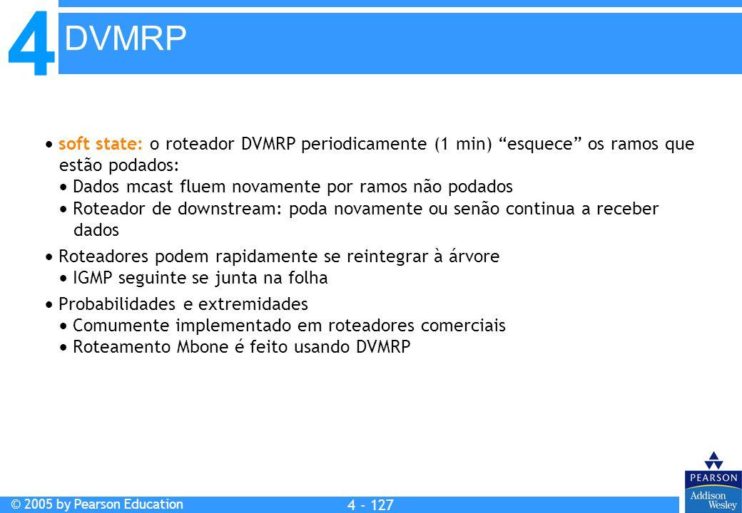 DVMRP  soft state: o roteador DVMRP periodicamente (1 min) esquece os ramos que estão podados: