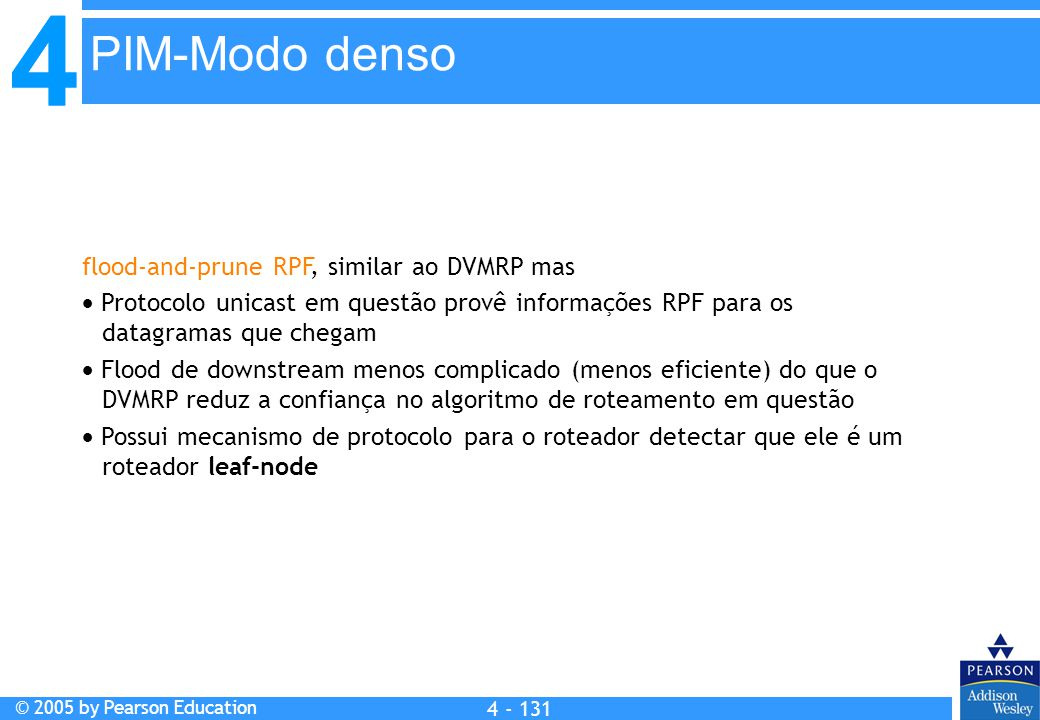 PIM-Modo denso flood-and-prune RPF, similar ao DVMRP mas