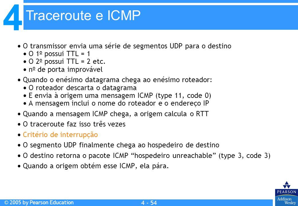 Traceroute e ICMP  O transmissor envia uma série de segmentos UDP para o destino.  O 1o possui TTL = 1.