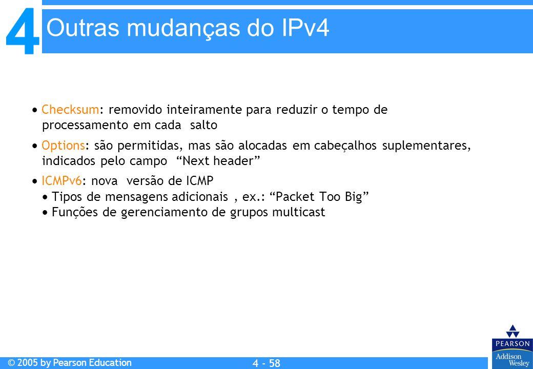 Outras mudanças do IPv4  Checksum: removido inteiramente para reduzir o tempo de processamento em cada salto.