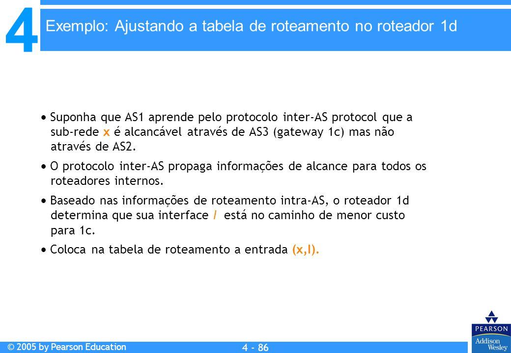Exemplo: Ajustando a tabela de roteamento no roteador 1d