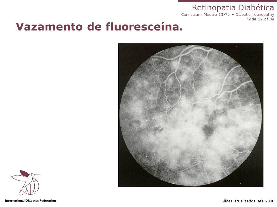 Vazamento de fluoresceína.