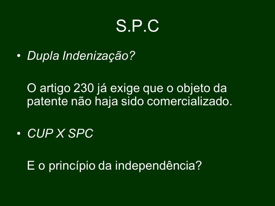 S.P.C Dupla Indenização O artigo 230 já exige que o objeto da patente não haja sido comercializado.