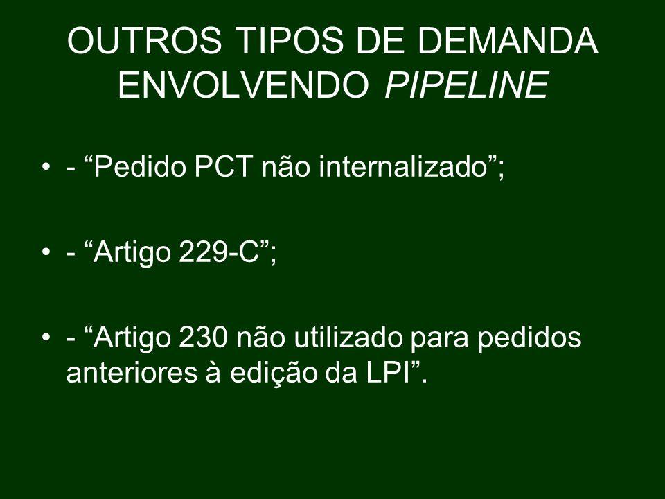 OUTROS TIPOS DE DEMANDA ENVOLVENDO PIPELINE