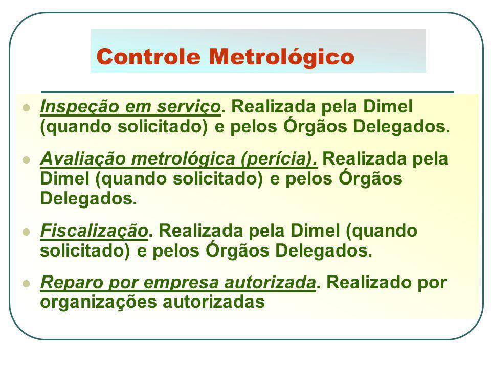 Controle Metrológico Inspeção em serviço. Realizada pela Dimel (quando solicitado) e pelos Órgãos Delegados.