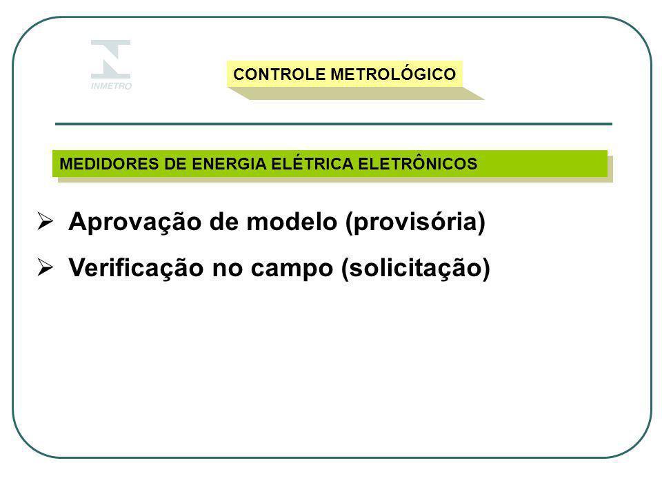Aprovação de modelo (provisória) Verificação no campo (solicitação)