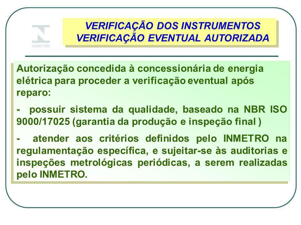 VERIFICAÇÃO DOS INSTRUMENTOS VERIFICAÇÃO EVENTUAL AUTORIZADA