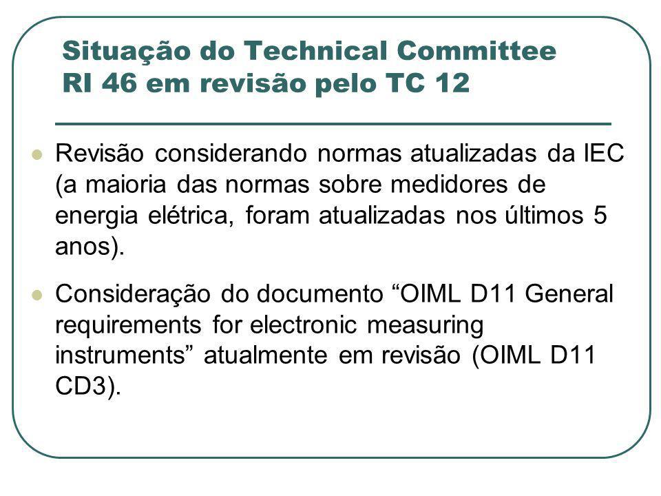 Situação do Technical Committee RI 46 em revisão pelo TC 12