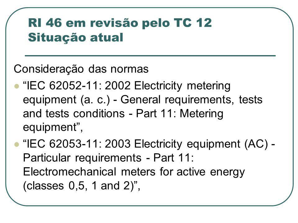 RI 46 em revisão pelo TC 12 Situação atual
