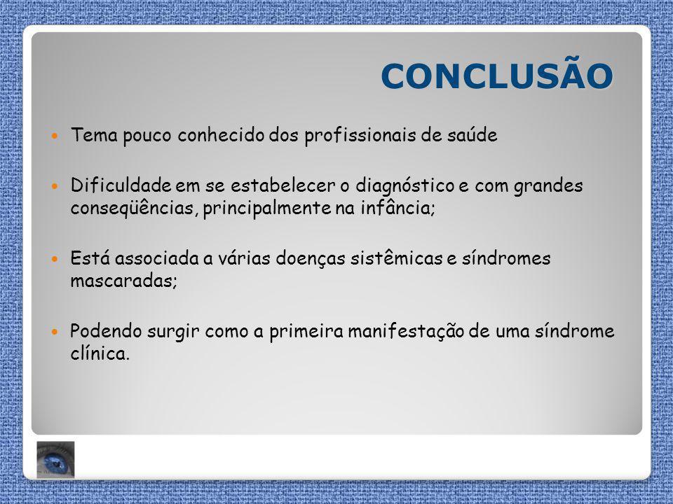 CONCLUSÃO Tema pouco conhecido dos profissionais de saúde