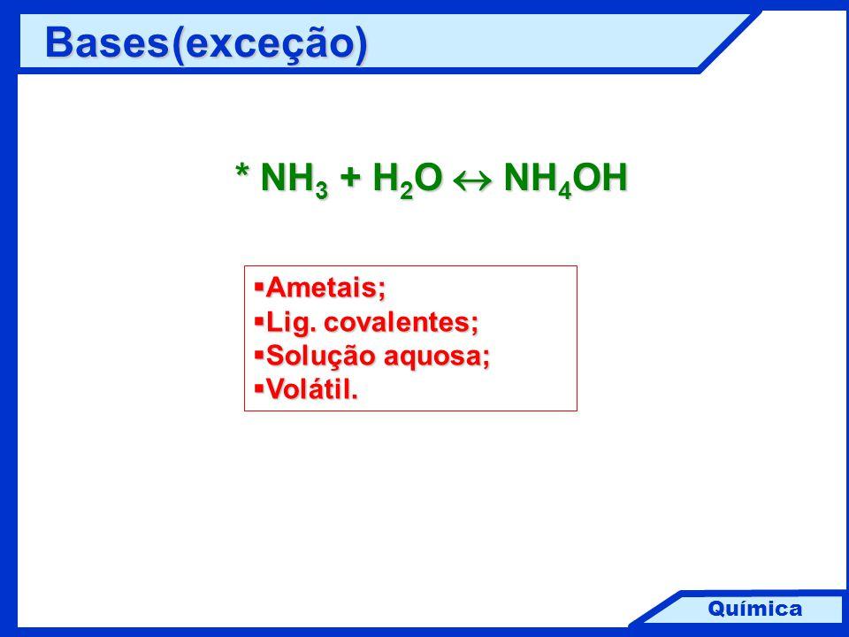 Bases (exceção) * NH3 + H2O  NH4OH Ametais; Lig. covalentes;
