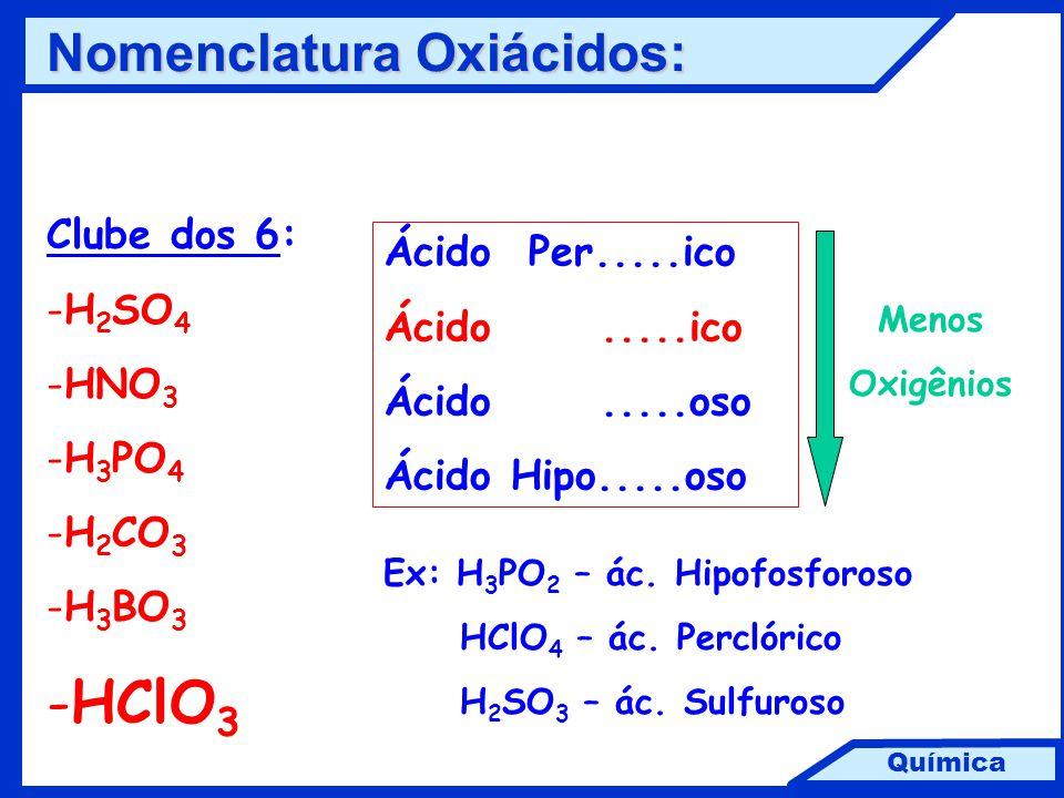HClO3 Nomenclatura Oxiácidos: Clube dos 6: Ácido Per.....ico H2SO4