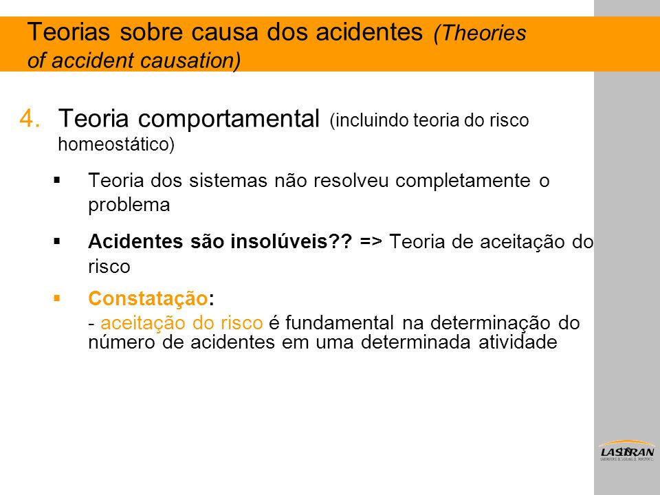 Teorias sobre causa dos acidentes (Theories of accident causation)
