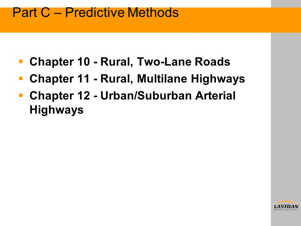 Part C – Predictive Methods