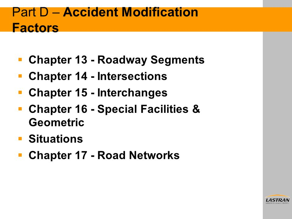 Part D – Accident Modification Factors