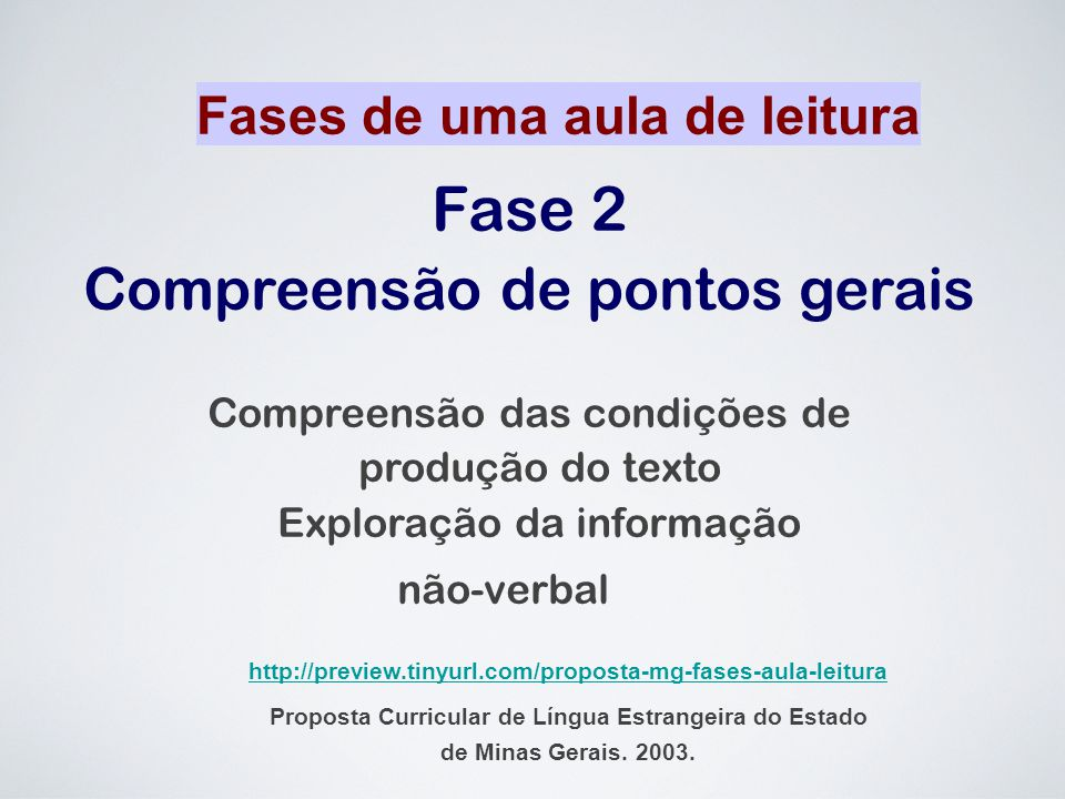 Fase 2 Compreensão de pontos gerais Fases de uma aula de leitura