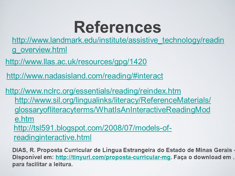 References http://www.landmark.edu/institute/assistive_technology/reading_overview.html. http://www.llas.ac.uk/resources/gpg/1420.
