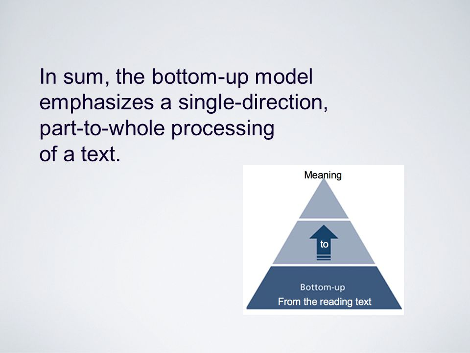 In sum, the bottom-up model