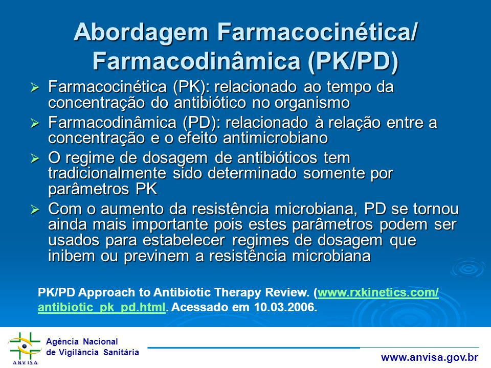 Abordagem Farmacocinética/ Farmacodinâmica (PK/PD)