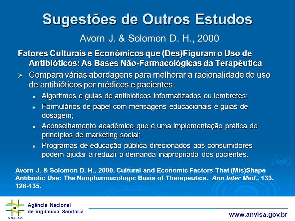 Sugestões de Outros Estudos Avorn J. & Solomon D. H., 2000