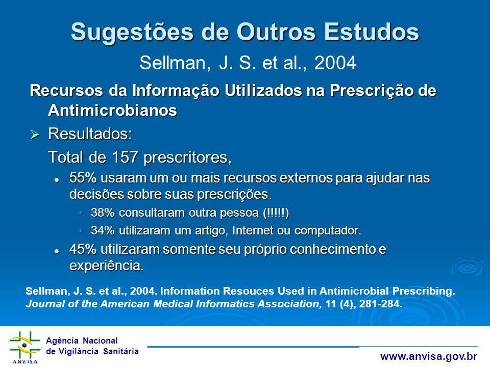 Sugestões de Outros Estudos Sellman, J. S. et al., 2004
