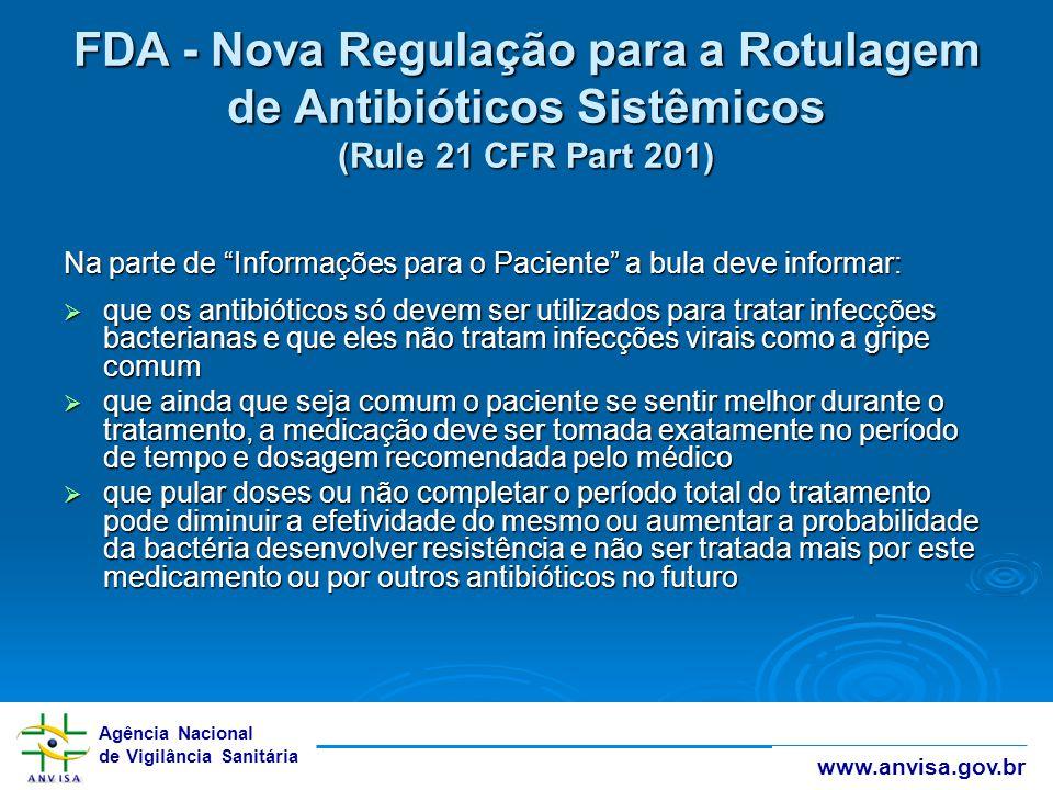 FDA - Nova Regulação para a Rotulagem de Antibióticos Sistêmicos (Rule 21 CFR Part 201)