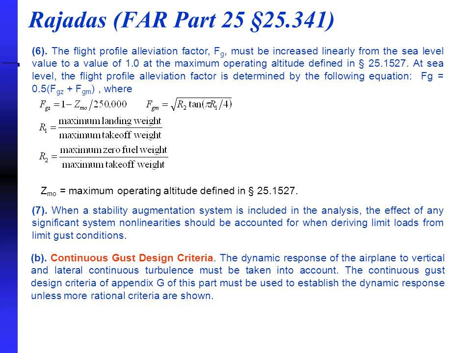 Rajadas (FAR Part 25 §25.341)
