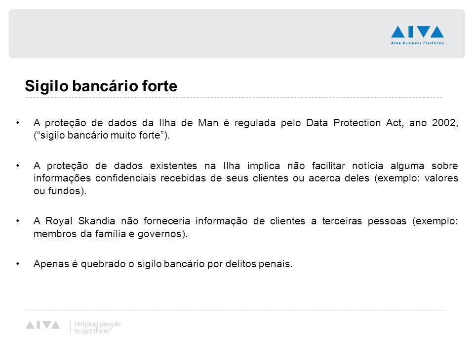 Sigilo bancário forte A proteção de dados da Ilha de Man é regulada pelo Data Protection Act, ano 2002, ( sigilo bancário muito forte ).