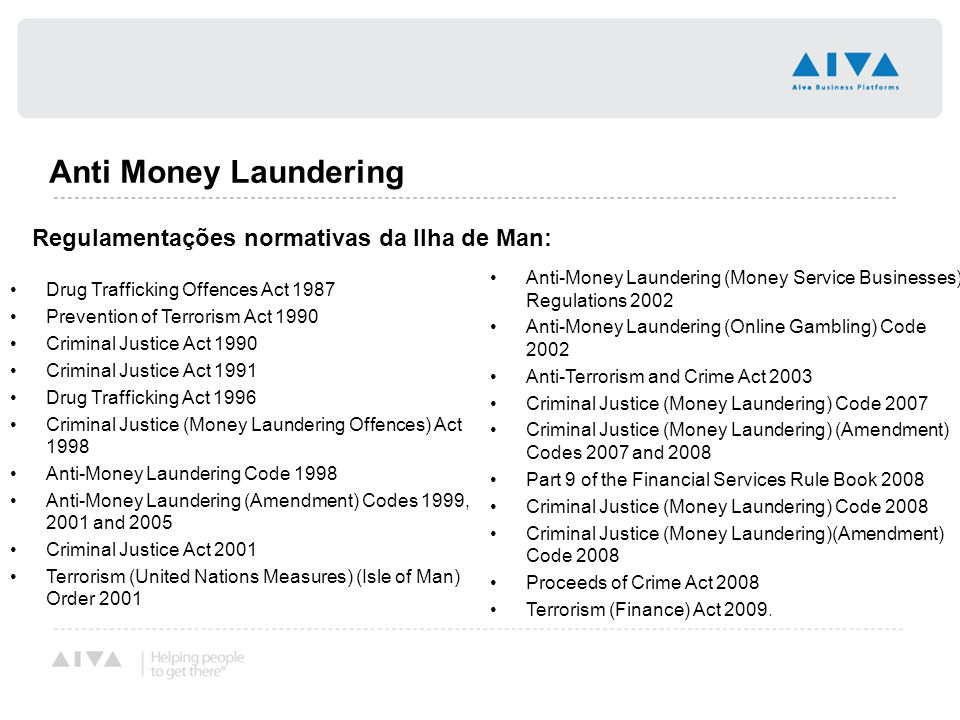 Anti Money Laundering Regulamentações normativas da Ilha de Man: