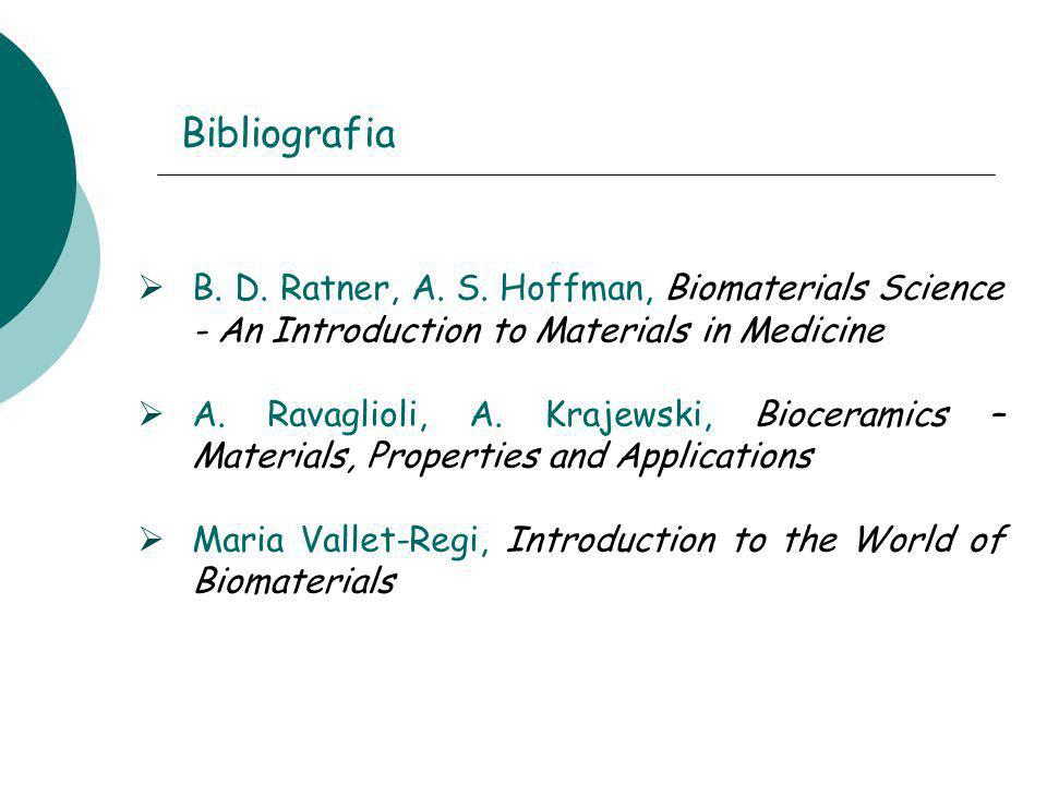 Bibliografia B. D. Ratner, A. S. Hoffman, Biomaterials Science - An Introduction to Materials in Medicine.