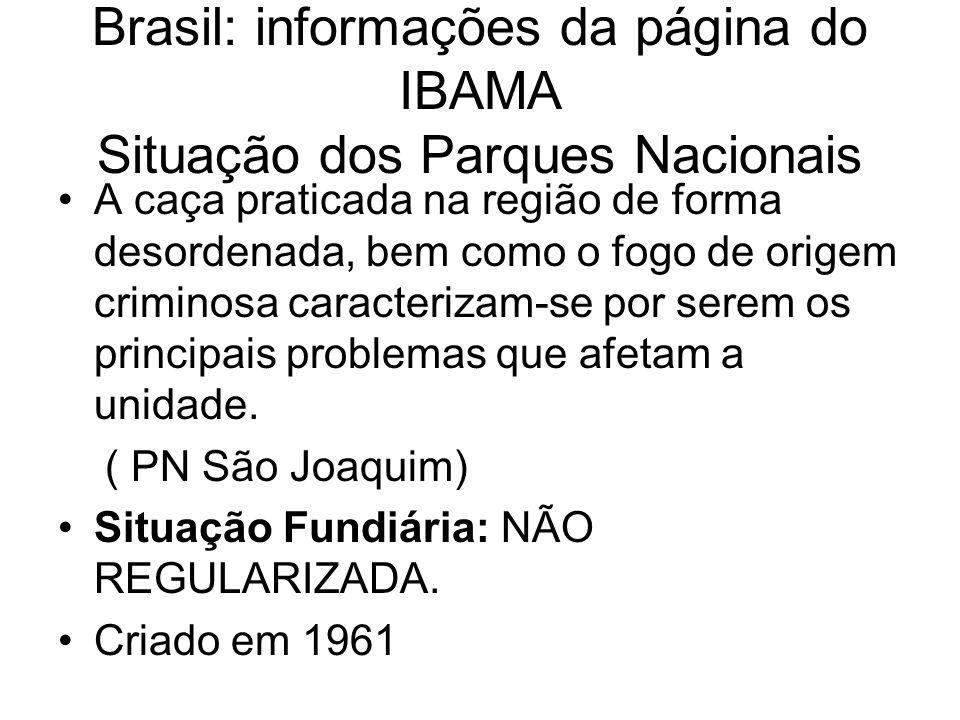 Brasil: informações da página do IBAMA Situação dos Parques Nacionais