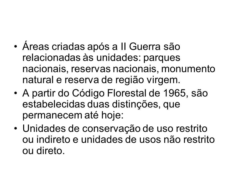 Áreas criadas após a II Guerra são relacionadas às unidades: parques nacionais, reservas nacionais, monumento natural e reserva de região virgem.