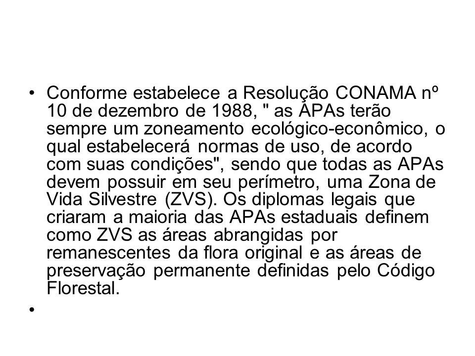 Conforme estabelece a Resolução CONAMA nº 10 de dezembro de 1988, as APAs terão sempre um zoneamento ecológico-econômico, o qual estabelecerá normas de uso, de acordo com suas condições , sendo que todas as APAs devem possuir em seu perímetro, uma Zona de Vida Silvestre (ZVS).